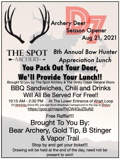 D7 – Season Opener Bow Hunter Appreciation Lunch 2021